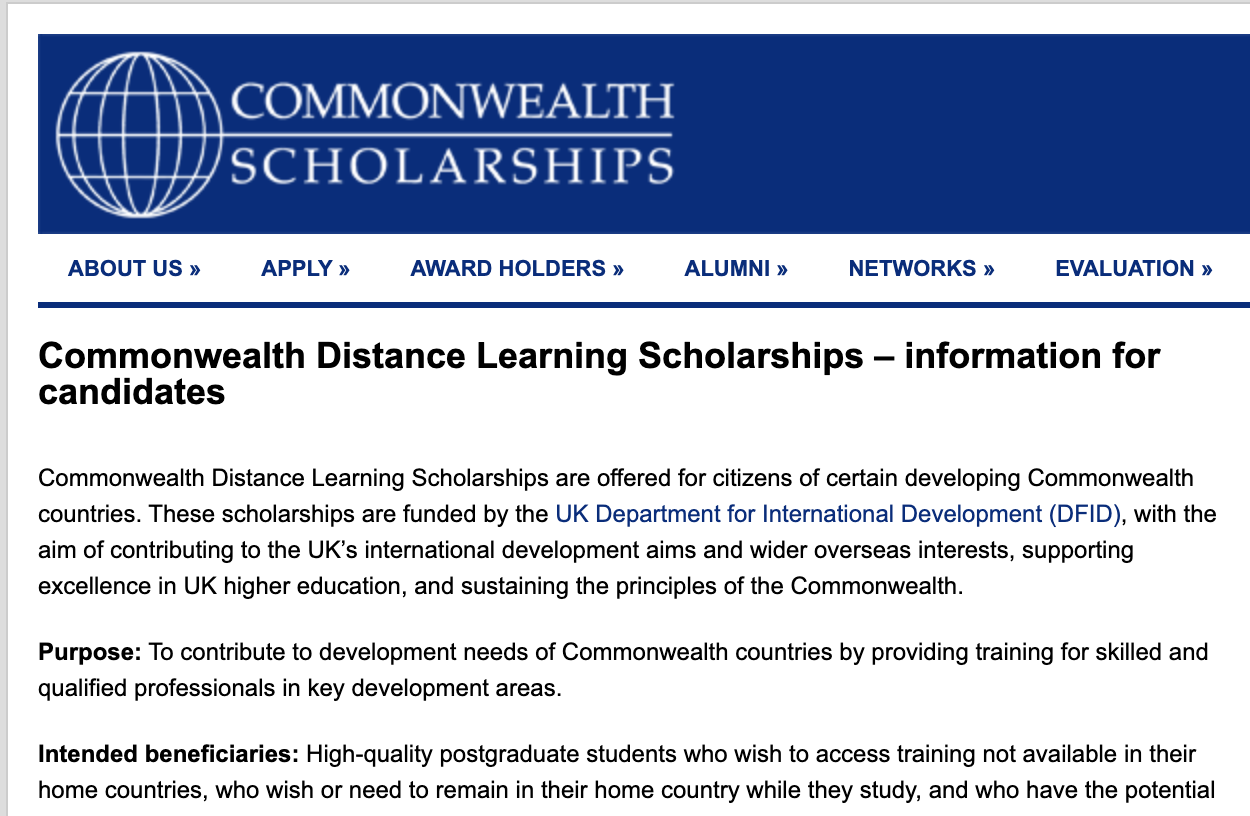 Commonwealth Distance Learning Scholarship In UK 2021