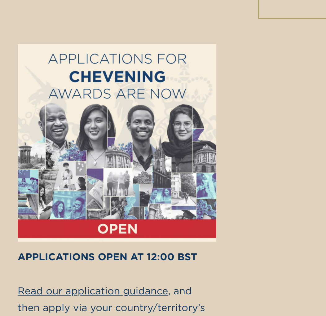 UK Chevening Scholarships 2021-2022 Application ONGOING